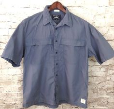 Eddie Bauer Mens L Blue McNary Button Shirt Zip Pockets Outdoors Hiking Casual #EddieBauer #ButtonFront