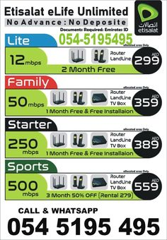 Internet Offers, Internet News, Home Internet, Office Free, Internet Packages, Sports Channel, Tv Channels, Sharjah, 1 Month
