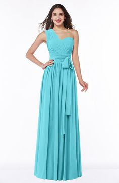 Turquoise Modern A-line Half Backless Chiffon Floor Length Ruching Plus Size Bridesmaid Dresses