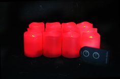 2 Inch Flameless Remote Control Votive Candles - Red - 12 Pack Red Candles, Votive Candles, Glow Bracelets, Glow Sticks, Remote, Led, Christmas, Xmas, Navidad