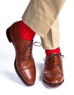 men's red dress socks blue dots