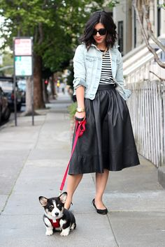 Full midi, stripes, jean jacket, puppy