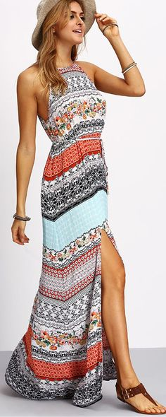 Multicolor Vintage Print Split Maxi Dress | Shop @ CollectiveStyles.com