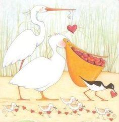 Mary Engelbreit, Collages, Vintage Valentine Cards, Love Valentines, Valentine Ideas, Stork, Back Home, Illustration Art, Illustration Pictures