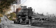 """Fade to 1906"": Photographs melding views from the ruins of the 1906 earthquake and the modern view of exactly the same spot.  By Shawn Clover (www.shawnclover.com)"