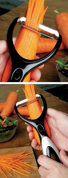 3In1 peeler designed by celebrity chef Jamie Oliver includes a straight blade, soft fruit blade and a julienne blade. A built-in scooping tool is perfect for removing blemishes from produce, while a storage kit keeps the blades compactly together
