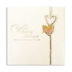 Classic Heart Design Square Wedding Invitation With Bowknot (Set of 50) – USD $ 34.99