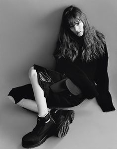 Freja Beha Erichsen wears Top and shorts Christopher Shannon. shoes Cat Footwear x Christopher Shannon.