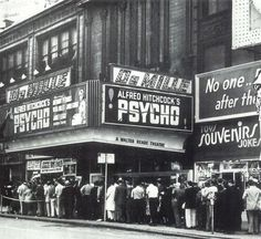 Moviegoer's waiting in line to see 'Psycho', 1960. Posted by Redlandspoodles.com