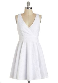 Eyelet Spy Dress - White, Solid, Eyelet, Casual, Vintage Inspired, Minimal, A-line, Sleeveless, Spring, Short, Cotton, Cutout, V Neck