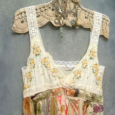 vintage hankies overlain on vintage/new slip...fabric attached to make a dress