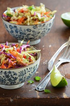 Crunchy Asian Slaw by An Edible Mosaic. Asian slaw recipe floating around the internet; in fact, I'd even guess that many of you have had it. Slaw Recipes, Veggie Recipes, Vegetarian Recipes, Cooking Recipes, Healthy Recipes, Picnic Recipes, Picnic Ideas, Picnic Foods, Healthy Meals