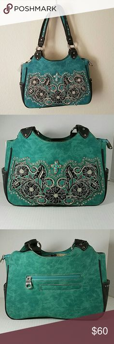 """Sueded Turquoise Studded Cross Floral Purse *Sueded Turquoise Purse with Embroidered Flowers, Silver Studs, Rhinestone Bling and a Country Cross in the center.   * 4 Compartments inside (2 zippered) * 2 Compartments on the back  (1 Zippered) * Metal feet for floor protection * Sturdy 11"""" drop straps.   -- Comes with Matching Wallet!!   PRICE IS FIRM UNLESS BUNDLED! American Bling  (Montana West) Bags Hobos"""