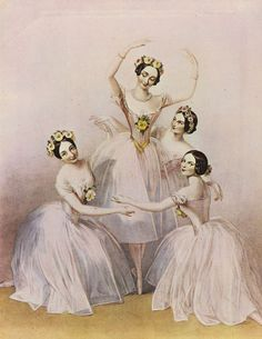 """ Pas de Quatre featuring Carlotta Grisi, Marie Taglioni, Lucille Grahn, and Fanny Cerrito Music Box Ballerina, Vintage Ballerina, Vintage Dance, Little Ballerina, Ballerina Art, Vintage Photographs, Vintage Images, Vintage Art, Vintage Crafts"