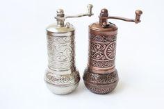 Spice grinder by Myowncoffee Turkish Coffee Grinder, Turkish Coffee Set, Kitchen Shelf Decor, Kitchen Shelves, Spice Grinder, Pepper Grinder, Turkish Spices, Grand Bazaar Istanbul, Turkish Lamps