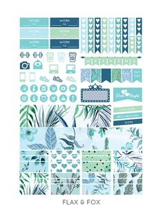 Printable TURQUOISE FLORAL Planner Stickers for the Erin Condren Life Planner…