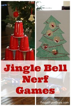 Jingle Bell Nerf Games - fun active games to play indoors!  Great for burning off all the holiday energy.