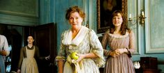 """""""Is he amiable?""""        """"Brenda with her apple. Brenda does things like that, carries apples around. It´s always as if Mrs. Bennet has come from somewhere else or doing something else. The original draft had loads of scenes where Mrs. Bennet was collecting eggs. I cut all those scenes.""""        (Joe Wright, Director)"""