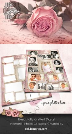Simply select a Photo Collage template, upload your photos and share the memories. Antique Roses, Vintage Roses, Vintage Paper, Photo Collage Design, Photo Collage Template, Pink Palette, Photo Restoration, Found You, Digital Collage