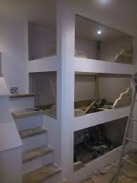 Resultado de imagen de build in triple bunk bed plans Triple Bunk Beds Plans, Loft Bed Plans, Double Bunk Beds, Bunk Beds Built In, Modern Bunk Beds, Bunk Beds With Stairs, Cool Bunk Beds, Kids Bunk Beds, Loft Beds