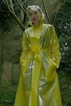 Clear Yellow plastic mac with rainhood Clear Raincoat, Vinyl Raincoat, Pvc Raincoat, Raincoat Jacket, Plastic Raincoat, Yellow Raincoat, Hooded Raincoat, Rain Jacket, Parka