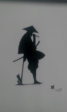 Samurai silhouette by: Saliu A. Ronin Samurai, Samurai Warrior, Guerrero Tattoo, Japanese Art Samurai, Samurai Wallpaper, Samurai Artwork, Ninja Art, Samurai Tattoo, Japan Art
