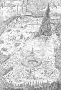 Map of the Free Glades from The Edge Chronicles by Paul Stewart and Chris Riddell.