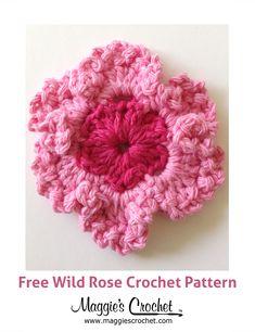 Wild Rose Free Crochet Pattern from Maggie's Crochet.