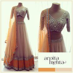 Cream Embroidery Net Festive Wear Lehenga Choli and Mustard Yellow Dupatta Lehenga Chunni, Net Lehenga, Sabyasachi, Ghagra Choli, Sarees, Anarkali Dress, Sharara, Indian Wedding Outfits, Indian Outfits