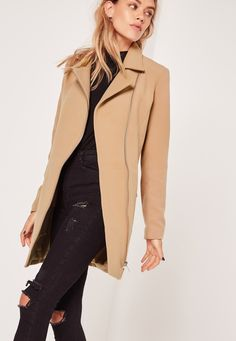Up your coat game and look totally fierce this season in this camel biker coat. With on point silver zip asymmetric fastening to the front and exposed biker style zips to the pockets and arms this coat will ensure all eyes are on you. Work ...