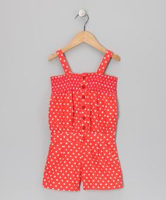 Take a look at this Mango Tango Polka Dot Romper - Girls by Longstreet on #zulily today!  http://www.zulily.com/invite/vhanson979
