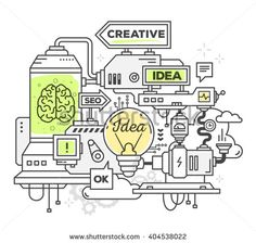 Vector illustration of creative professional mechanism to develop ideas on white background. Draw line art style monochrome design with green and yellow colors for web, site, advertising, poster,print - stock vector