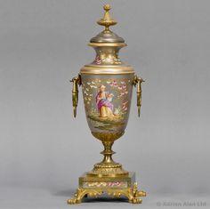 A Fine Napoleon III Gilt-Bronze Mounted Porcelain Clock Garniture. French, Circa 1870. #detail #antiques #clock #adrianalan