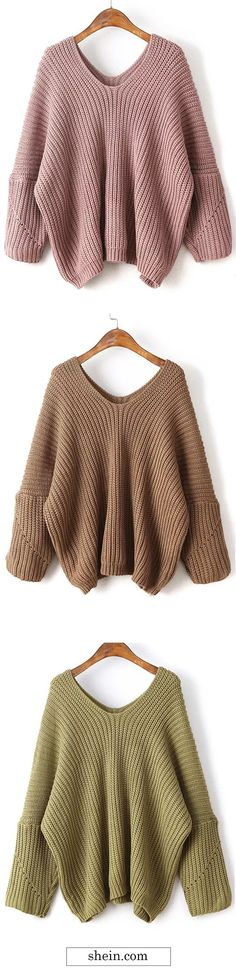 V neck drop shoulder chunky oversized sweater