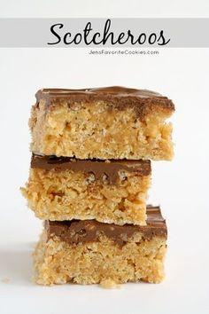 Scotcheroos from JensFavoriteCookies.com - Peanut butter krispie treats with chocolate butterscotch frosting.