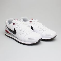 Nike Air Waffle Trainer Leather White/Black-Team Red-Wolf Grey