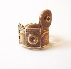 Steampunk Camera Ring Adjustable Antique Brass by bellamantra, $28.00