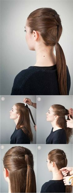 Triple Ponytail Hairstyle for School: Low Ponytail for Straight Long Hair
