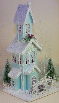 """Képtalálat a következőre: """"christmas putz house"""" Miniature Christmas, Christmas Paper, Blue Christmas, Christmas Projects, All Things Christmas, Christmas Home, Holiday Crafts, Holiday Decor, Christmas Mantles"""