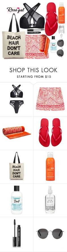"""""""Rosegal Bikini"""" by varrica ❤ liked on Polyvore featuring Giambattista Valli, Tory Burch, Havaianas, Fallon & Royce, Avène, Bumble and bumble, Herbivore, LashFood and The Row"""