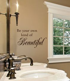 Impress your guests with these fun bathroom decals! Bathroom Decals, Wall Decals For Bedroom, Bedroom Art, Vinyl Wall Decals, Bathroom Wall, Be Your Own Kind Of Beautiful, Beautiful Wall, Home Decor Inspiration, Daily Inspiration