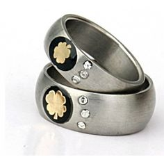 Titanium Steel Fashion Four Leaves Grass Couple Rings Titanium Steel Jewelry Wholesale China Jewelry