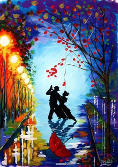 ufukorada:  Tango in the rain - Original Fine Art Contemporary Good night … iyi geceler …