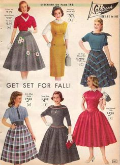 1957 fall fashions for teens. I love the grey skirt on the upper right. Which one would you wear?