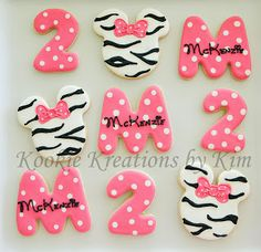 Zebra Minnie Mouse cookies - Kookie Kreations by Kim
