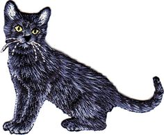 """Amazon.com: [Single Count] Custom and Unique (3"""" by 2 1/4"""" Inches) Adorable Cat Household Pets Kitten Iron On Embroidered Applique Patch {Black and White Colors}"""