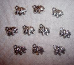 Elephant Charms  Silver Metal  12mm x 10mm  by JerseyShoreBeads, $2.50