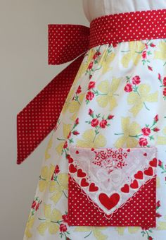 Valentine Half Apron Hankie Red and Yellow by tadacreations