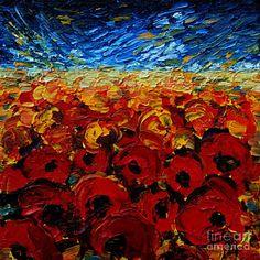 Geometric Painting - Poppies 2 by Mona Edulesco