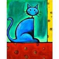 Simple but vibrant, this piece is the perfect addition to anyone who loves cats or just loves brightly colored artwork.
